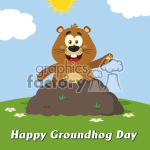 10645 Royalty Free RF Clipart Happy Marmmot Cartoon Mascot Character Waving In Groundhog Day Vector Flat Design With Background And Text Happy Groundhog Day