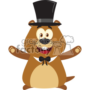 10632 Royalty Free RF Clipart Smiling Marmot Cartoon Mascot Character With Hat And Open Arms In Groundhog Day Vector Flat Design With Background Isolated On White clipart. Commercial use image # 403450