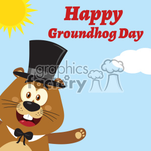 10640 Royalty Free RF Clipart Smiling Marmot Cartoon Mascot Character With Hat Waving From Corner Vector Flat Design With Background And Text Happy Groundhog Day