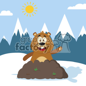 10642 Royalty Free RF Clipart Happy Marmmot Cartoon Mascot Character Waving In Groundhog Day Vector Flat Design With Background clipart. Commercial use image # 403460