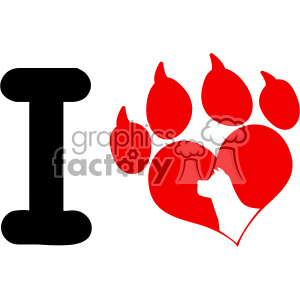 10705 Royalty Free RF Clipart I Love With Red Heart Paw Print With Claws And Dog Head Silhouette Logo Design Vector Illustration