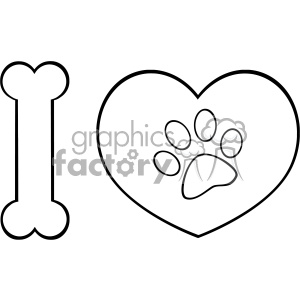 10714 Royalty Free RF Clipart Black And White I Love Animals With Bone And Heart With Paw Print Logo Design Vector Illustration