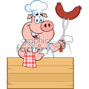 10719 Royalty Free RF Clipart Chef Pig Cartoon Mascot Character Holding A Sausage On A Bbq Fork Over A Wooden Sign Giving A Thumb Up Vector Illustration
