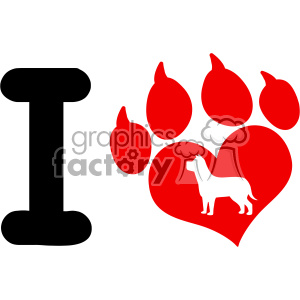 10704 Royalty Free RF Clipart I Love With Red Heart Paw Print With Claws And Dog Silhouette Logo Design Vector Illustration clipart. Commercial use image # 403490
