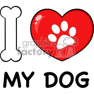 clipart - 10716 Royalty Free RF Clipart I Love My Dog With Bone And Red Heart With Paw Print Logo Design Vector Illustration.