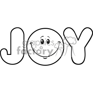 10840 Royalty Free RF Clipart Black And White Joy Logo With Smiley Face Cartoon Character Vector Illustration