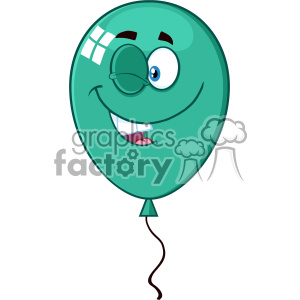 10758 Royalty Free RF Clipart Winking Turquoise Balloon Cartoon Mascot Character Vector Illustration