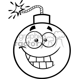 10823 Royalty Free RF Clipart Black And White Smiling Bomb Face Cartoon Mascot Character With Expressions Vector Illustration clipart. Commercial use image # 403515