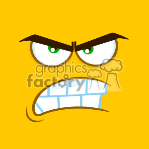 10901 Royalty Free RF Clipart Aggressive Cartoon Square Emoticons With Angry Expression Vector With Yellow Background