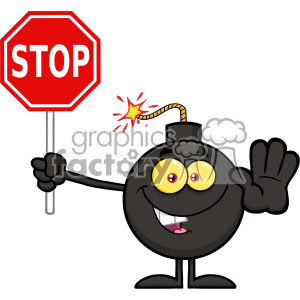 10783 Royalty Free RF Clipart Cute Bomb Cartoon Mascot Character Gesturing And Holding A Stop Sign Vector Illustration