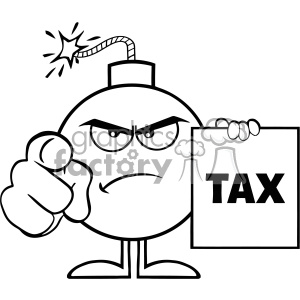 10806 Royalty Free RF Clipart Black And White Angry Bomb Cartoon Mascot Character Pointing And Holding A Tax Sign Form Vector Illustration clipart. Commercial use image # 403535