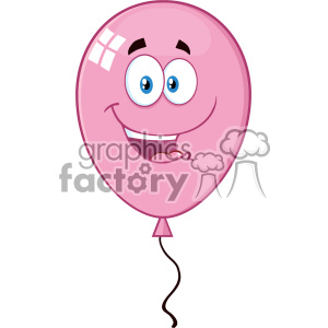 10761 Royalty Free RF Clipart Happy Pink Balloon Cartoon Mascot Character Vector Illustration