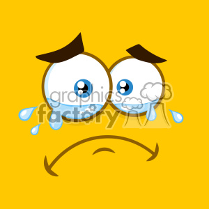 10889 Royalty Free RF Clipart Crying Cartoon Square Emoticons With Tears And Expression Vector With Yellow Background clipart. Royalty-free image # 403545