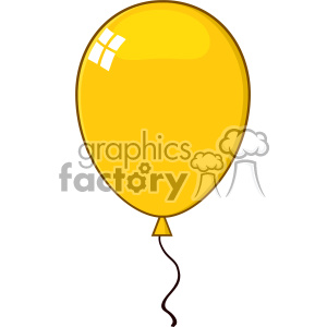 10744 Royalty Free RF Clipart Cartoon Yellow Balloon Vector Illustration