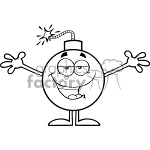10801 Royalty Free RF Clipart Black And White Bomb Cartoon Mascot Character With Open Arms For Hugging Vector Illustration clipart. Commercial use image # 403565