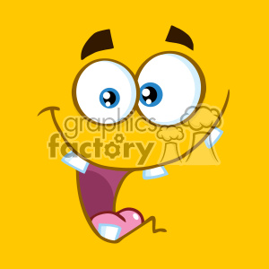 10886 Royalty Free RF Clipart Crazy Cartoon Square Emoticons With Smiling Expression Vector With Yellow Background
