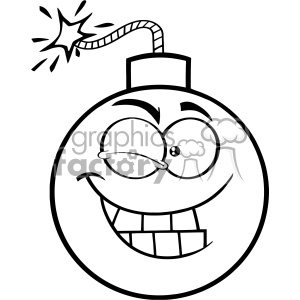 10817 Royalty Free RF Clipart Black And White Winking Bomb Face Cartoon Mascot Character With Expressions Vector Illustration clipart. Commercial use image # 403575