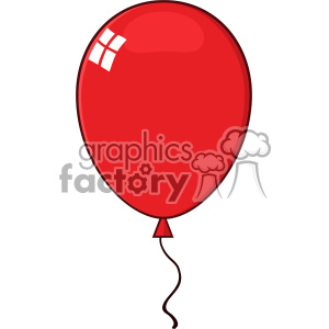 10735 Royalty Free RF Clipart Cartoon Red Balloon Vector Illustration