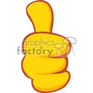 10688 Royalty Free RF Clipart Yellow Cartoon Hand Giving Thumbs Up Gesture Vector Illustration