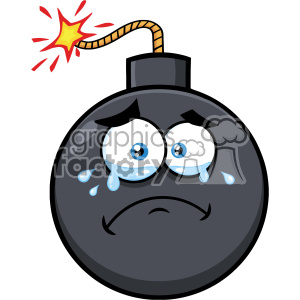 10826 Royalty Free RF Clipart Crying Bomb Face Cartoon Mascot Character With Tears Vector Illustration