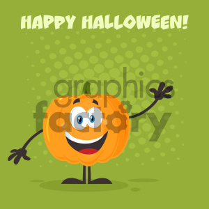 Happy Orange Pumpkin Vegetables Cartoon Emoji Character Waving For Greeting Vector Illustration Flat Design Style With Background And Text Happy Halloween clipart. Royalty-free image # 403951