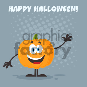 Happy Orange Pumpkin Vegetables Cartoon Emoji Character Waving For Greeting Vector Illustration Flat Design Style With Background And Text Happy Halloween_1