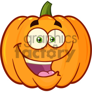 Happy Orange Pumpkin Vegetables Cartoon Emoji Face Character With Expression Vector Illustration Isolated On White Background clipart. Royalty-free image # 403962