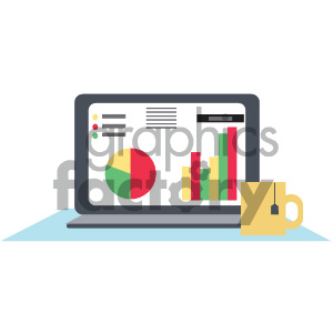 computer desk with coffee viewing charts vector icon clipart. Royalty-free image # 404050