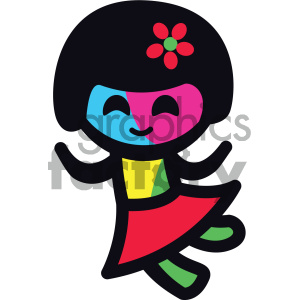 dancing sticker character girl