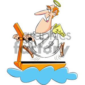 cartoon angel on a treadmill clipart. Royalty-free image # 404173