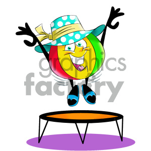 cartoon beach ball character jumping on a trampoline
