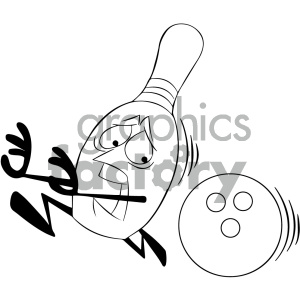 black and white cartoon bowling pin mascot character being chased by bowling ball clipart. Royalty-free image # 404198