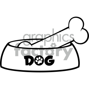 Royalty Free RF Clipart Illustration Black And White Dog Bowl With Bone Drawing Simple Design Vector Illustration Isolated On White Background clipart. Royalty-free image # 404215