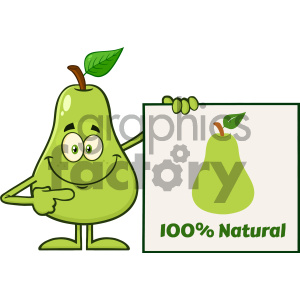 Royalty Free RF Clipart Illustration Smiling Green Pear Fruit With Leaf Cartoon Mascot Character Pointing To A Blank Sign Vector Illustration Isolated On White Background_1 clipart. Commercial use image # 404246