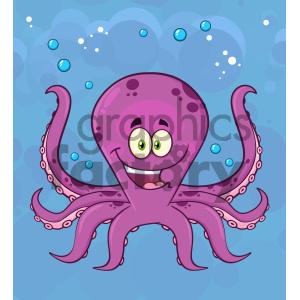 Royalty Free RF Clipart Illustration Happy Octopus Cartoon Mascot Character Swimming Underwater Vector Illustration With Blue Background clipart. Commercial use image # 404252
