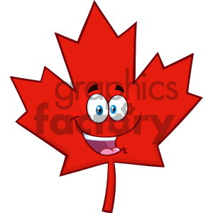 Royalty Free RF Clipart Illustration Happy Canadian Red Maple Leaf Cartoon Mascot Character Vector Illustration Isolated On White Background clipart. Royalty-free image # 404268