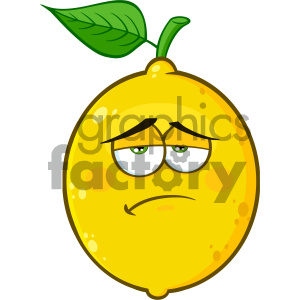 Royalty Free RF Clipart Illustration Sadness Yellow Lemon Fruit Cartoon Emoji Face Character With Expression Vector Illustration Isolated On White Background clipart. Royalty-free image # 404296