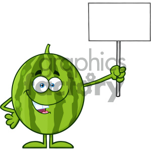 Royalty Free RF Clipart Illustration Green Watermelon Fresh Fruit Cartoon Mascot Character Holding A Blank Sign Vector Illustration Isolated On White Background clipart. Royalty-free image # 404346
