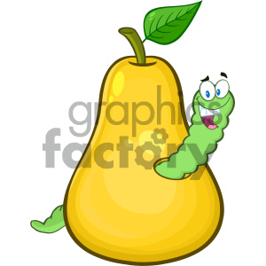 Royalty Free RF Clipart Illustration Yellow Pear Fruit With Green Leaf And A Worm Cartoon Mascot Character Vector Illustration Isolated On White Background clipart. Royalty-free image # 404363