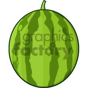 Royalty Free RF Clipart Illustration Green Watermelon Fresh Fruit Cartoon Drawing Simple Design Vector Illustration Isolated On White Background clipart. Commercial use image # 404368