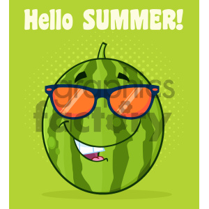 Royalty Free RF Clipart Illustration Smiling Green Watermelon Fruit Cartoon Mascot Character With Sunglasses Vector Illustration With Halftone Background And Text Hello Summer clipart. Royalty-free image # 404381