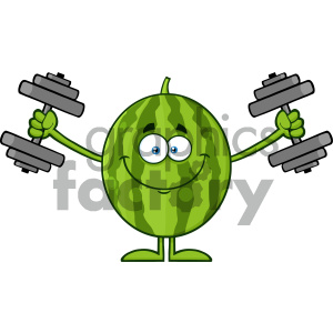 Royalty Free RF Clipart Illustration Healthy Green Watermelon Fresh Fruit Cartoon Mascot Character Training With Dumbbells Vector Illustration Isolated On White Background clipart. Royalty-free image # 404395