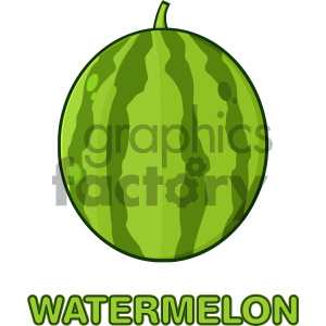 Royalty Free RF Clipart Illustration Green Watermelon Fresh Fruit Cartoon Drawing Simple Design Vector Illustration Isolated On White Background With Text Watermelon clipart. Commercial use image # 404408