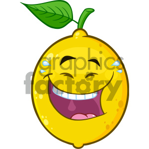 Royalty Free RF Clipart Illustration Happy Yellow Lemon Fruit Cartoon Emoji Face Character With Laughing Expression Vector Illustration Isolated On White Background clipart. Commercial use image # 404409