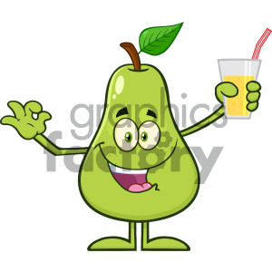 cartoon food mascot character vector pear happy fun drinking holding