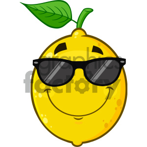 Royalty Free RF Clipart Illustration Smiling Yellow Lemon Fruit Cartoon Emoji Face Character With Sunglasses Vector Illustration Isolated On White Background clipart. Commercial use image # 404433