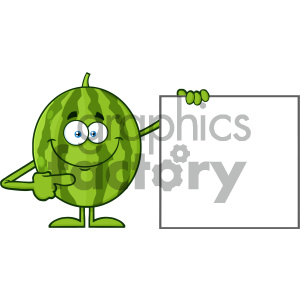 Royalty Free RF Clipart Illustration Smiling Green Watermelon Fresh Fruit Cartoon Mascot Character Pointing To A Blank Sign Vector Illustration Isolated On White Background clipart. Commercial use image # 404439