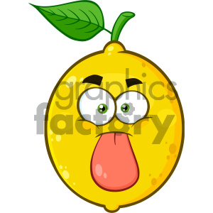 Royalty Free RF Clipart Illustration Funny Yellow Lemon Fruit Cartoon Emoji Face Character Stuck Out Tongue Vector Illustration Isolated On White Background clipart. Royalty-free image # 404465