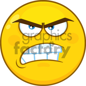 Royalty Free RF Clipart Illustration Angry Yellow Cartoon Smiley Face Character With Aggressive Expressions Vector Illustration Isolated On White Background clipart. Commercial use image # 404469