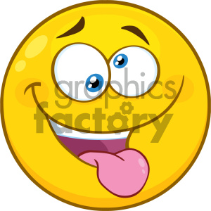 Royalty Free RF Clipart Illustration Mad Yellow Cartoon Smiley Face Character With Crazy Expression And Protruding Tongue Vector Illustration Isolated On White Background clipart. Commercial use image # 404497